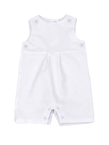 white corduroy short romper with white teething bib