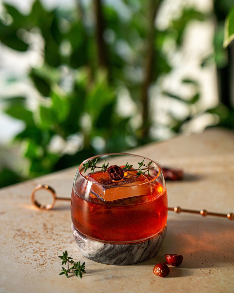 Festive cocktail Apple, Cranberry and Maple Negroni in Chill glass by NUDE