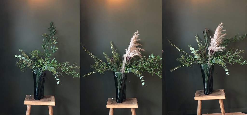 First 3 steps of the NUDE In Bloom creation from Grace & Thorn in the NUDE Inca vase