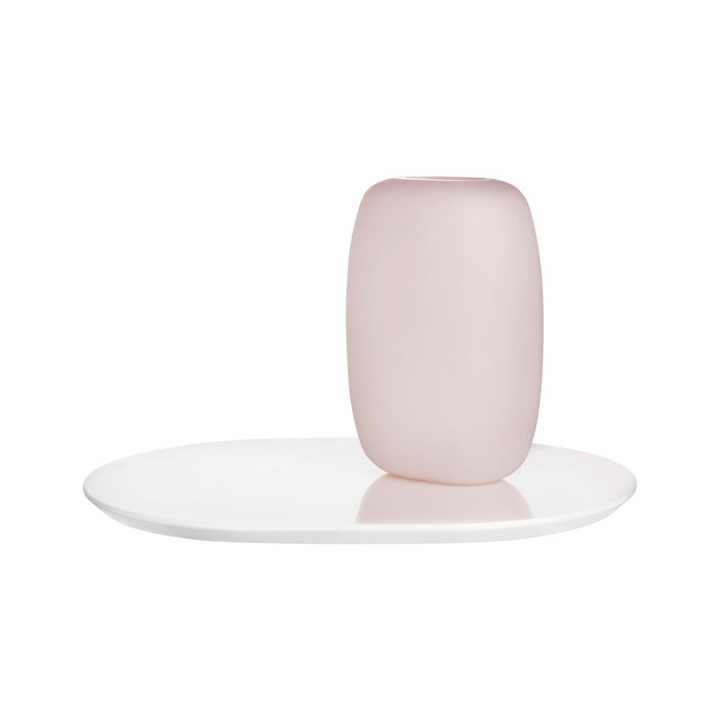 Sweets@Vase Opal Pink with Glossy White Base Medium