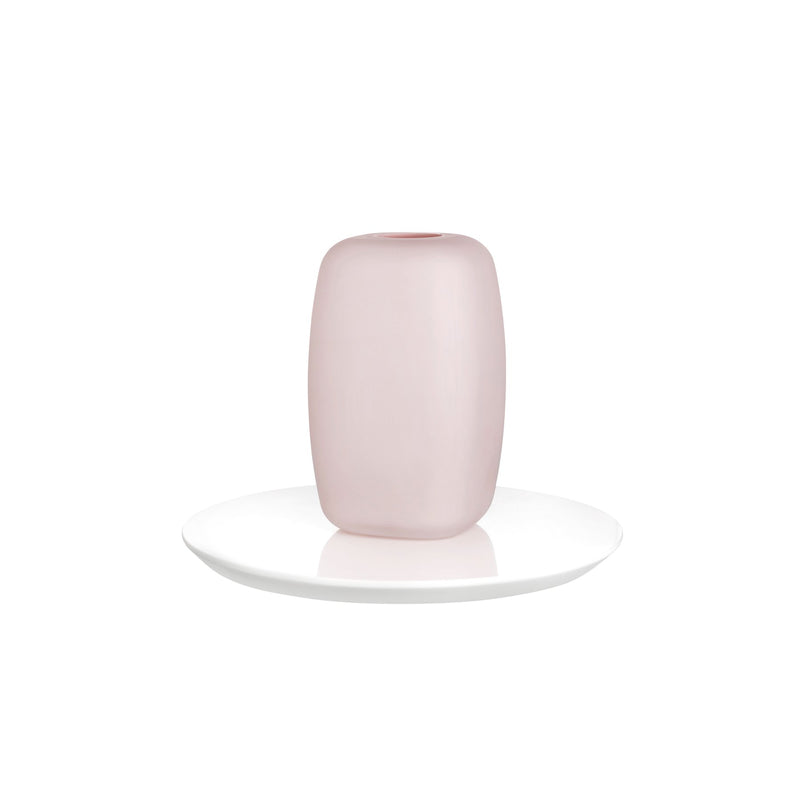 Sweets@Vase Opal Pink with Glossy White Base Small