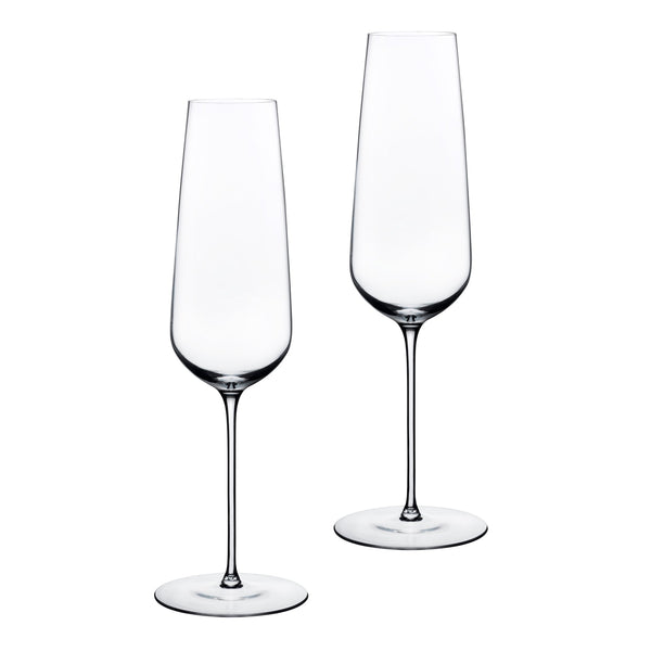 Stem Zero@Set of 2 Flute Champagne Glasses