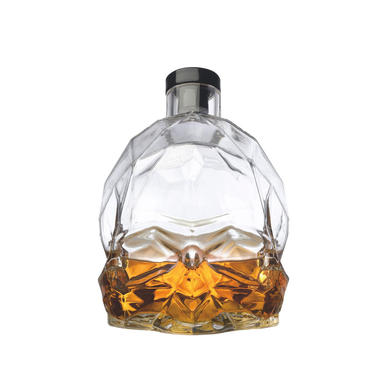 NUDE Memento Mori skull shaped whisky bottle filled front view