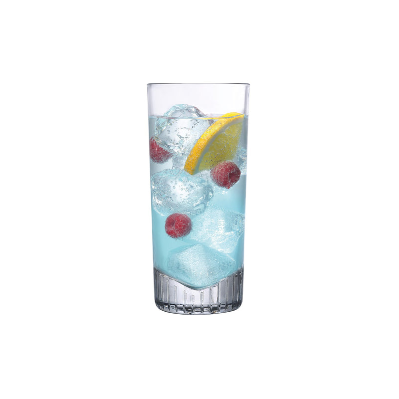 NUDE Caldera high ball glass filled with a light blue cocktail