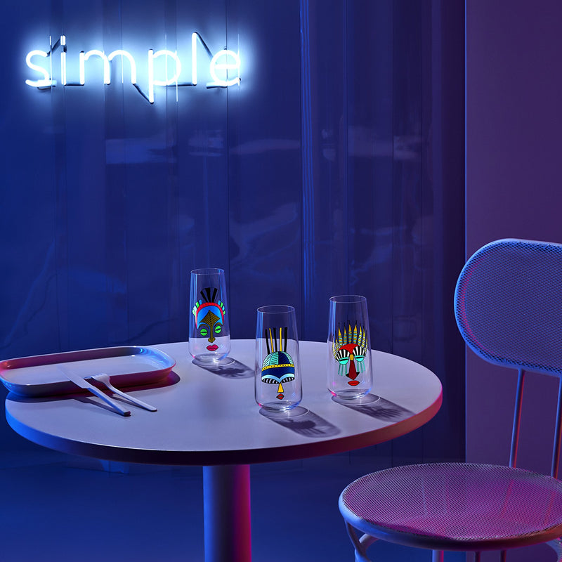 Lifestyle image of NUDE Mirage Rock & Pop collection  in neon table scenery