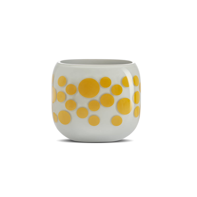 Mono Box Vase Iris Apfel Yellow Dotted