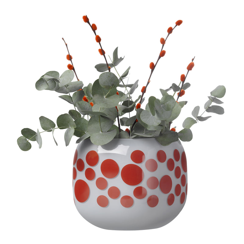 Mono Box Vase Iris Apfel Red Dotted with Eucalyptus leaves