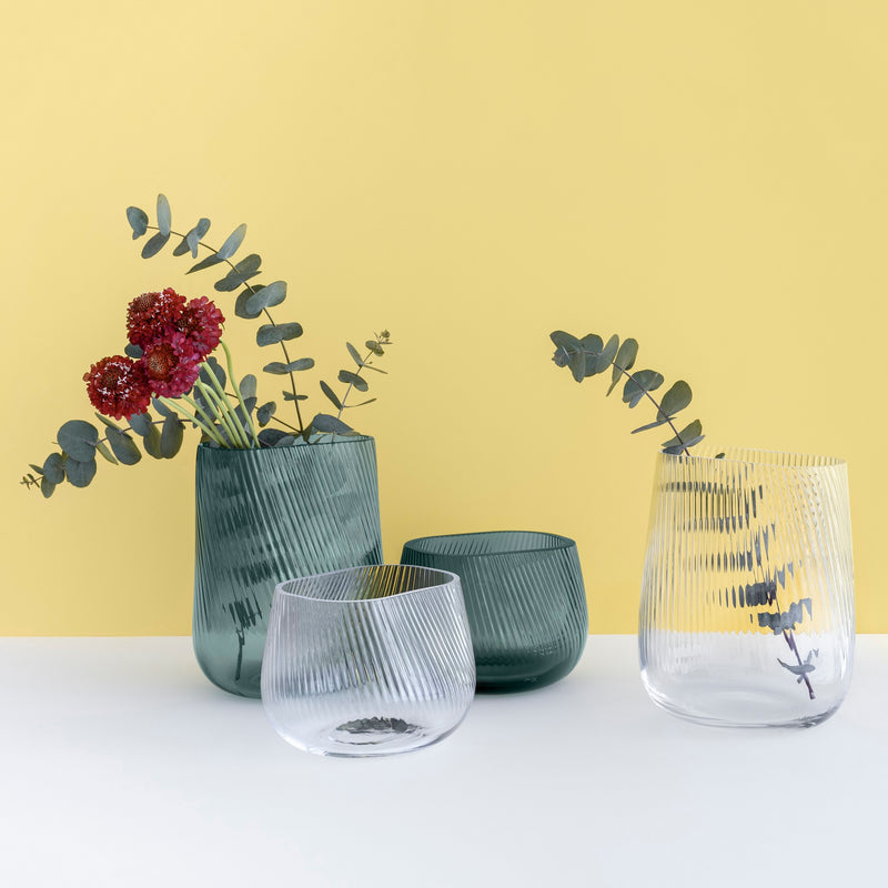 Group Opti Vases by Defne Koz in clear and smoked green