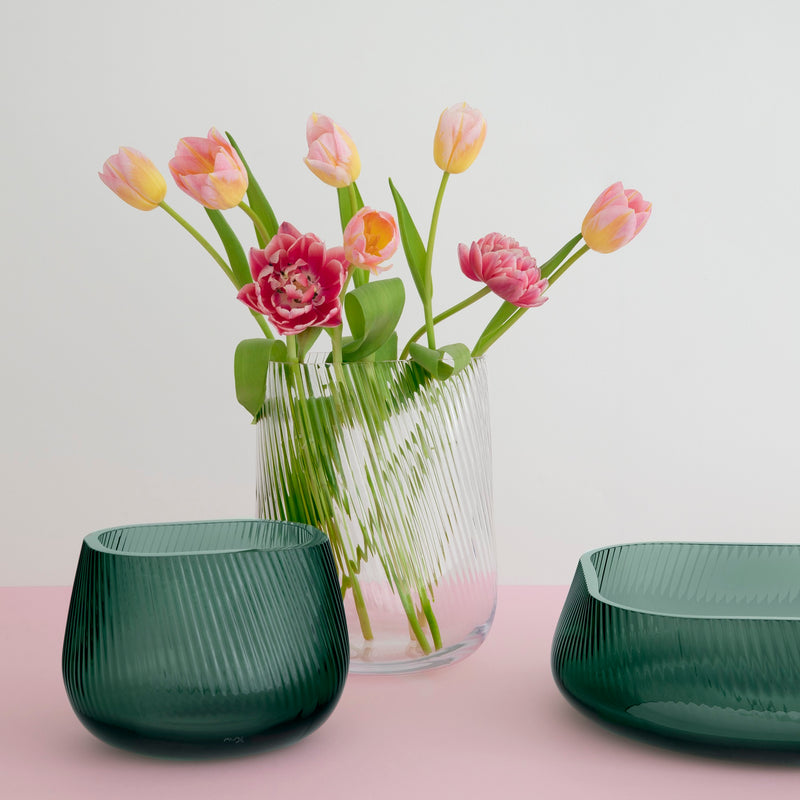 Group Opti Vases in clear and smoked green lifestyle
