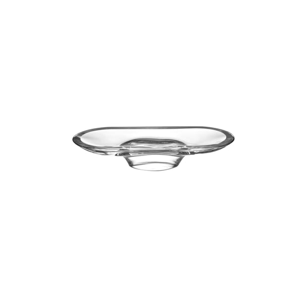 Nude Glass Silhouette Compartment Tray Short in clear lead-free glass