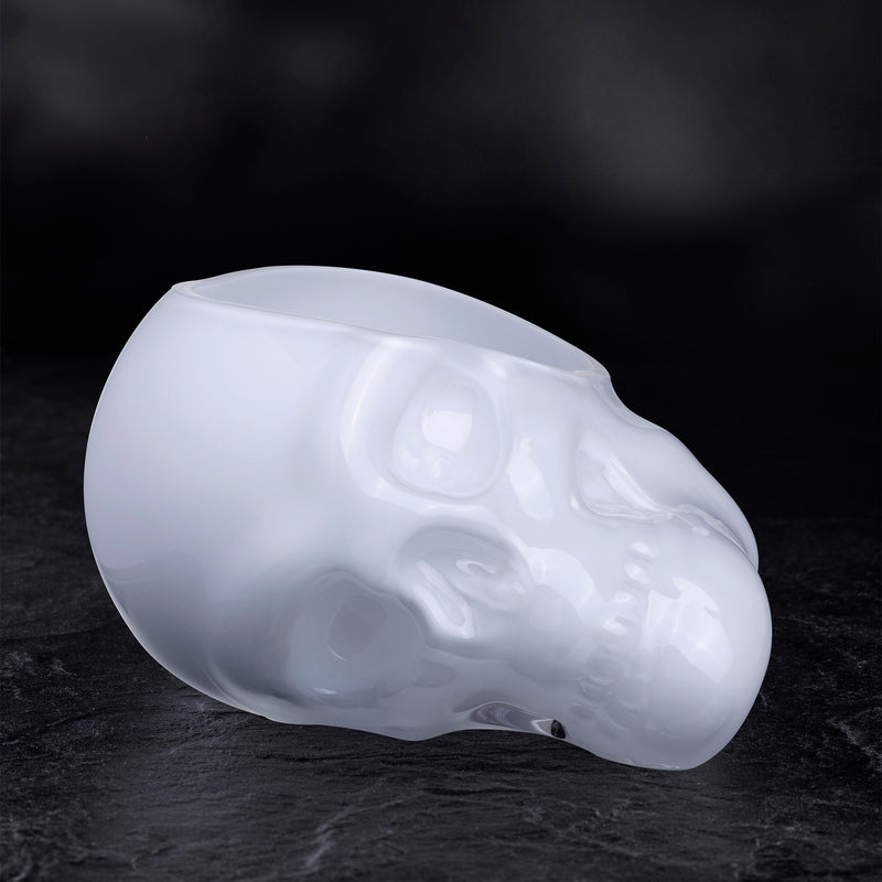 Memento Mori@Faceted Skull Bowl Opal White Small