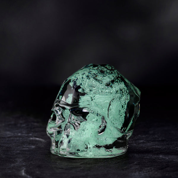 Memento Mori@Faceted Skull Luminous Green Small