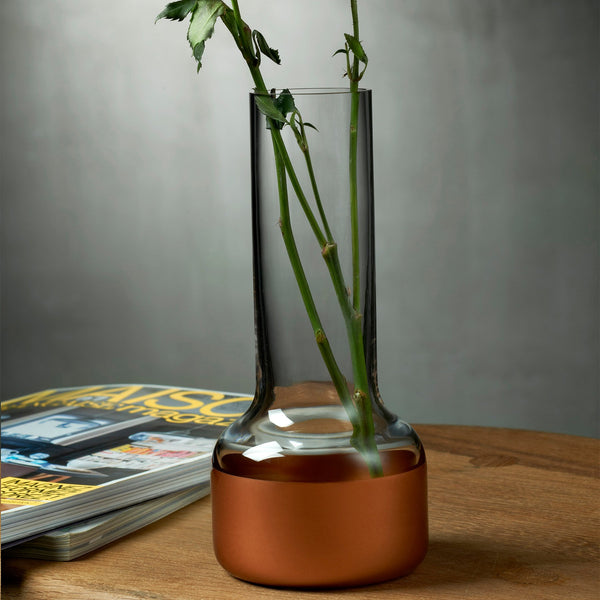 Contour@Bud vase with Clear Top and Copper Base