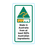 Made In Australia From At Least 50% Australian Ingredients Stickers – 1.6cm x 3cm - Country Of Origin Stickers