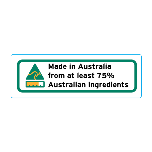 Made In Australia From At Least 75% Australian Ingredients Stickers - 3cm x 1cm - Landscape Orientation