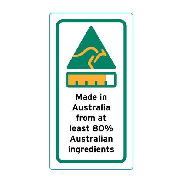 Made In Australia From At Least 80% Australian Ingredients Stickers – 1.6cm x 3cm - Country Of Origin Stickers