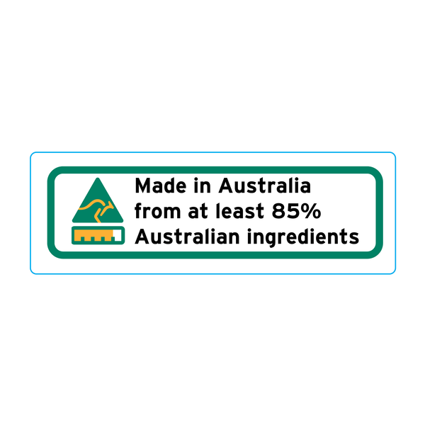 Made In Australia From At Least 85% Australian Ingredients Stickers - 3cm x 1cm - Landscape Orientation