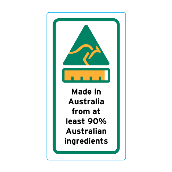 Made In Australia From At Least 90% Australian Ingredients Stickers – 1.6cm x 3cm - Country Of Origin Stickers