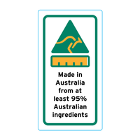 Made In Australia From At Least 95% Australian Ingredients Stickers – 1.6cm x 3cm - Country Of Origin Stickers