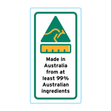 Made In Australia From At Least 99% Australian Ingredients Stickers - 1.6cm x 3cm - Portrait Orientation