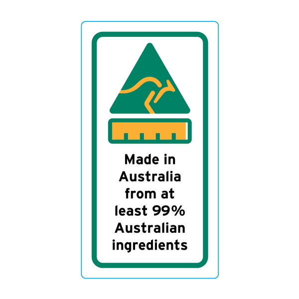Made In Australia From At Least 99% Australian Ingredients Stickers – 1.6cm x 3cm - Country Of Origin Stickers