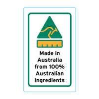 Made In Australia From 100% Australian Ingredients Stickers – 2.1cm x 3.4cm - Country Of Origin Stickers
