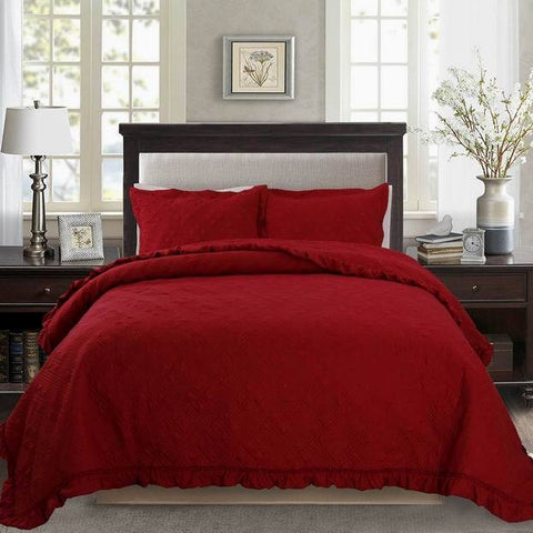 Red Quilt Set Winter