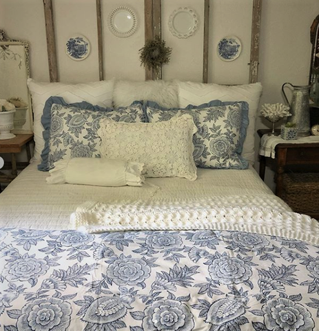 frosted blue floral bedding comforter set