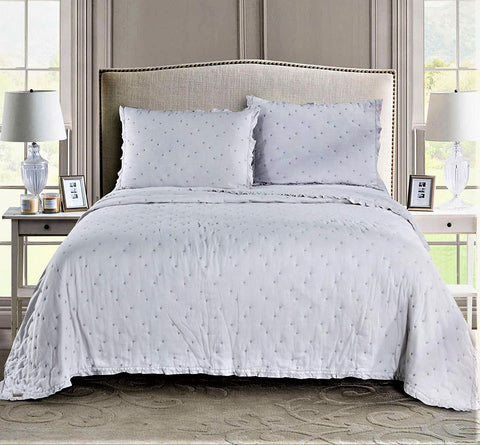 Timeless Cotton White Quilt Comforter Set dot stitch Nostalgic