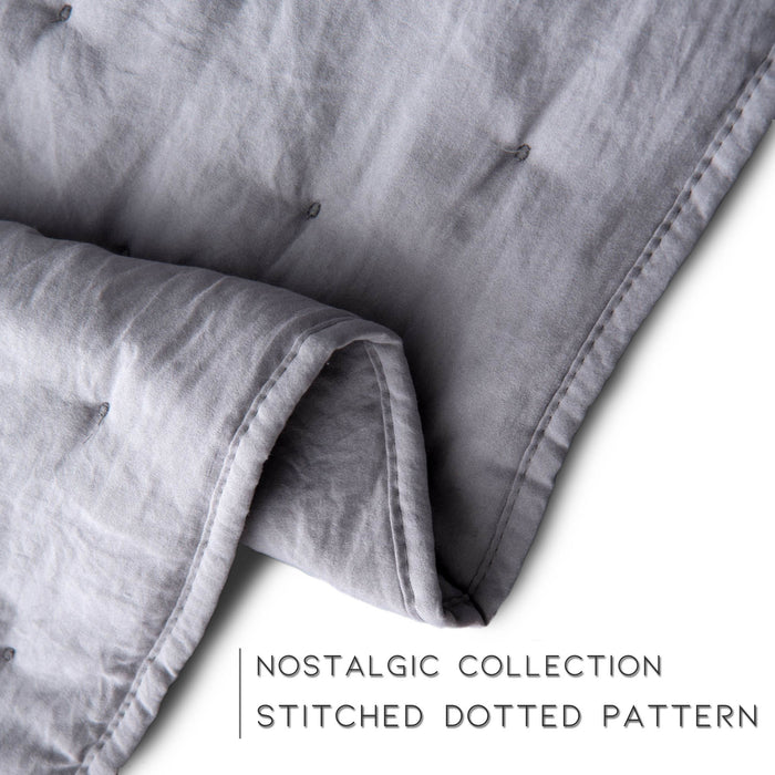 Kasentex Nostalgic Dot Stitch Stone Washed Designer Quilt Set With Pillow Shams