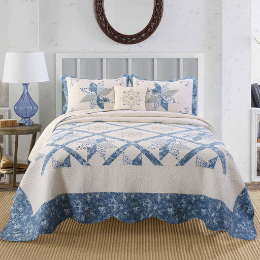 KASENTEX Premium Collection Real Patchwork Embroidery Bedspread 100% Luxurious Cotton Quilt - Kasentex