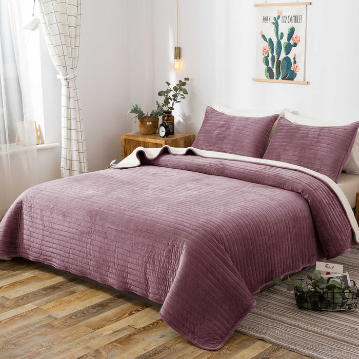 Kasentex Plush and Soft Sherpa Velvet Quilt Set Perfect Winter Bedding - Ideal for Gifting - Rose