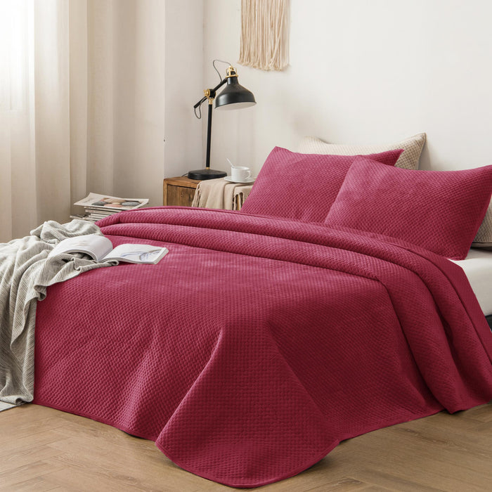 Kasentex Plush Poly-Velvet Lavish Design Quilt Set with Shams