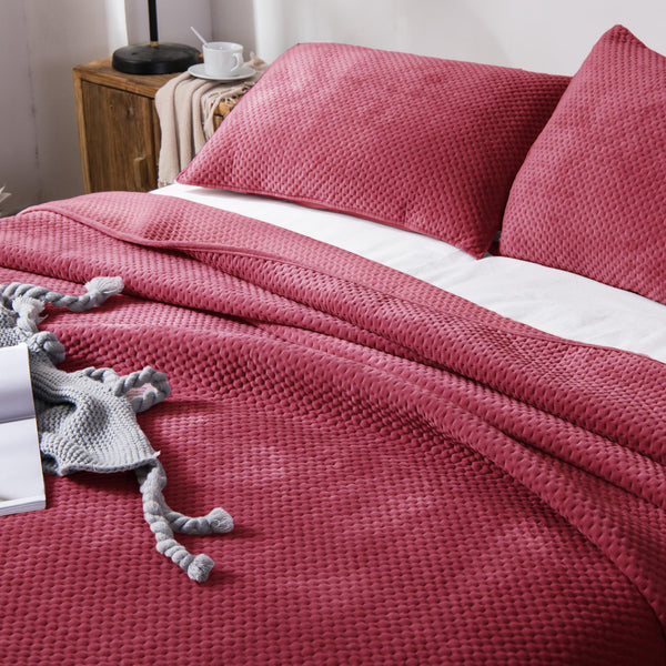 Kasentex Winter Cozy Velveteen Bedspread With Shams for Bedroom, Guestroom - Kasentex
