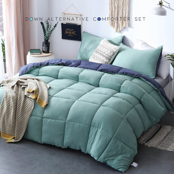 Kasentex Premium Down Alternative Fill Comforter Set - Hypoallergenic & Reversible