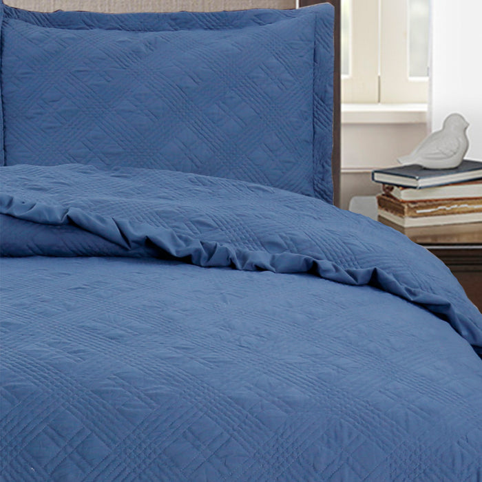 Kasentex Softest Quilt Set With Stitched Diamond Design