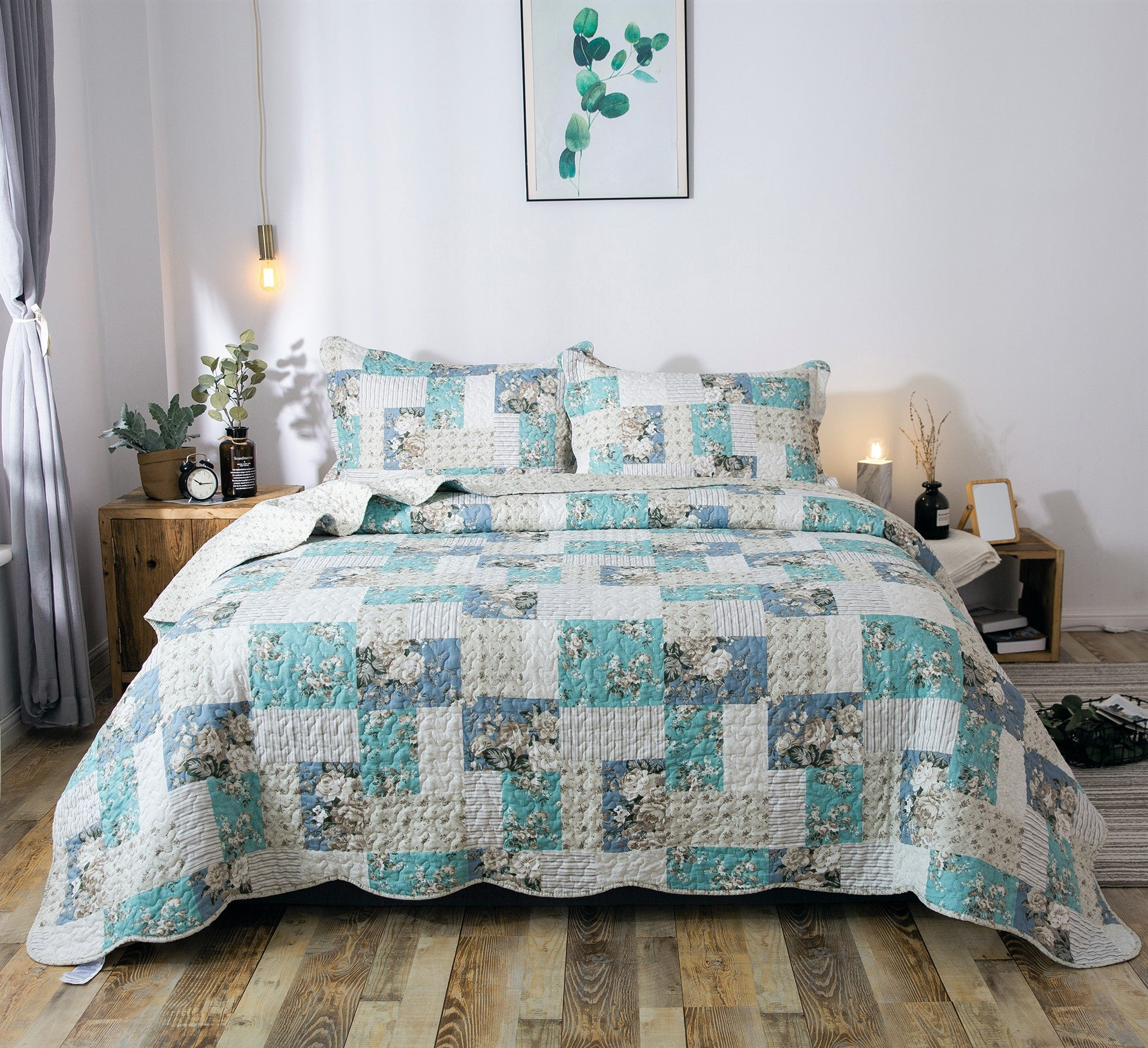 Kasentex Country-Chic Printed Pre-Washed Quilt Set Microfiber Fabric. Aqua Green