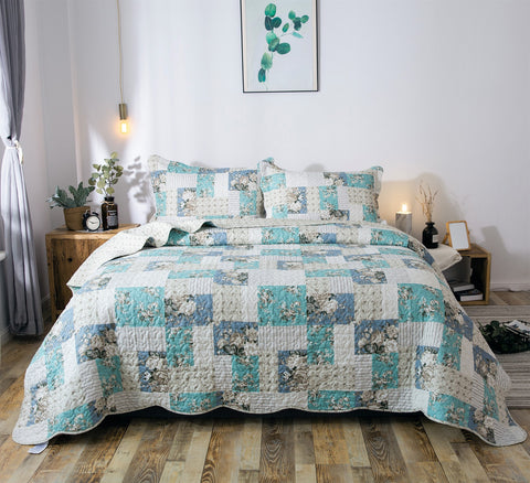 Kasentex Country-Chic Print Pre-Washed Quilt Set Microfiber Fabric. Aqua Green - Kasentex