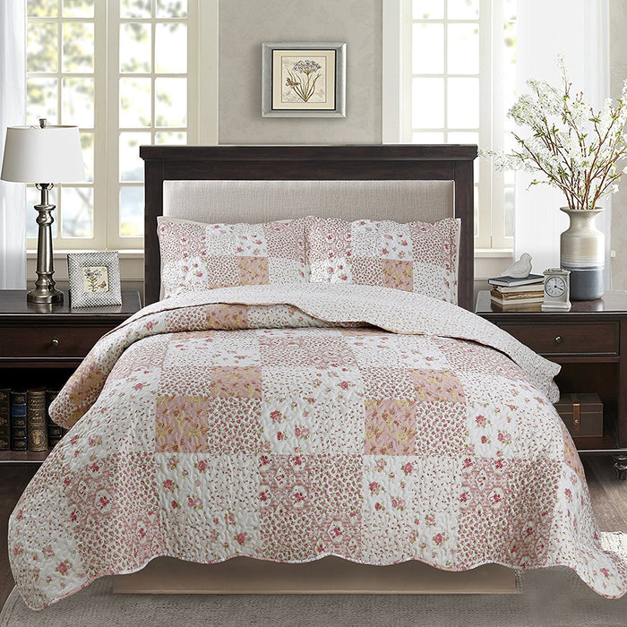 Kasentex Floral Chic Luxury Soft Quilt Set with 2 Shams