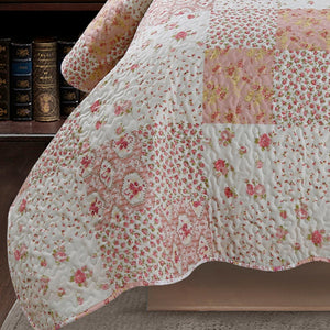Kasentex Stone Washed Nostalgic Design Ultra Soft Washable Lightweight Quilt with Pillow Case