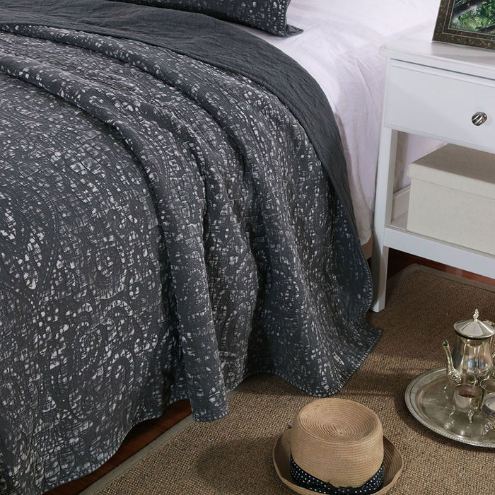 Kasentex Soft Bedspread Set, 100% Premium Natural Cotton with Stitched Floral Pattern - Quilt + 2 Shams
