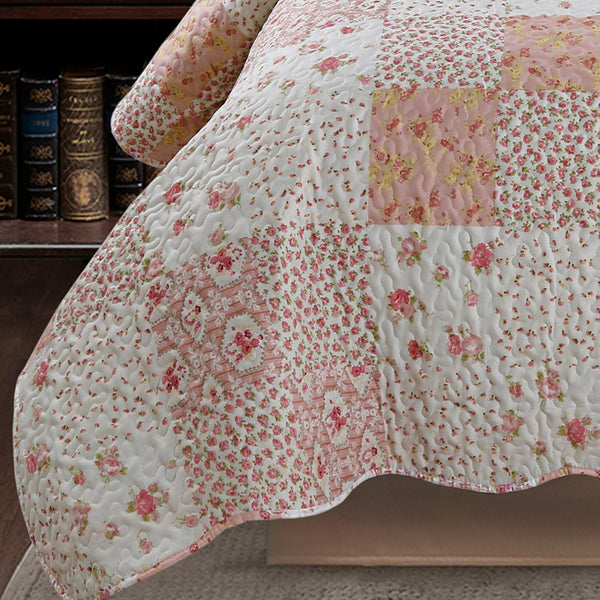 Kasentex Nostalgic Dot Stitch Stone Washed Designer Quilt Set With Pillow Shams - Kasentex