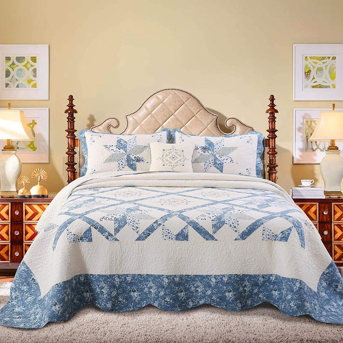 KASENTEX Luxurious Patchwork Bedspread Embroidery 100% Cotton Throw Pillow - Blue