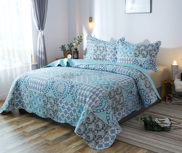 Kasentex Country-Chic Printed Pre-Washed Quilt Set. Microfiber. Airy Blue - Kasentex