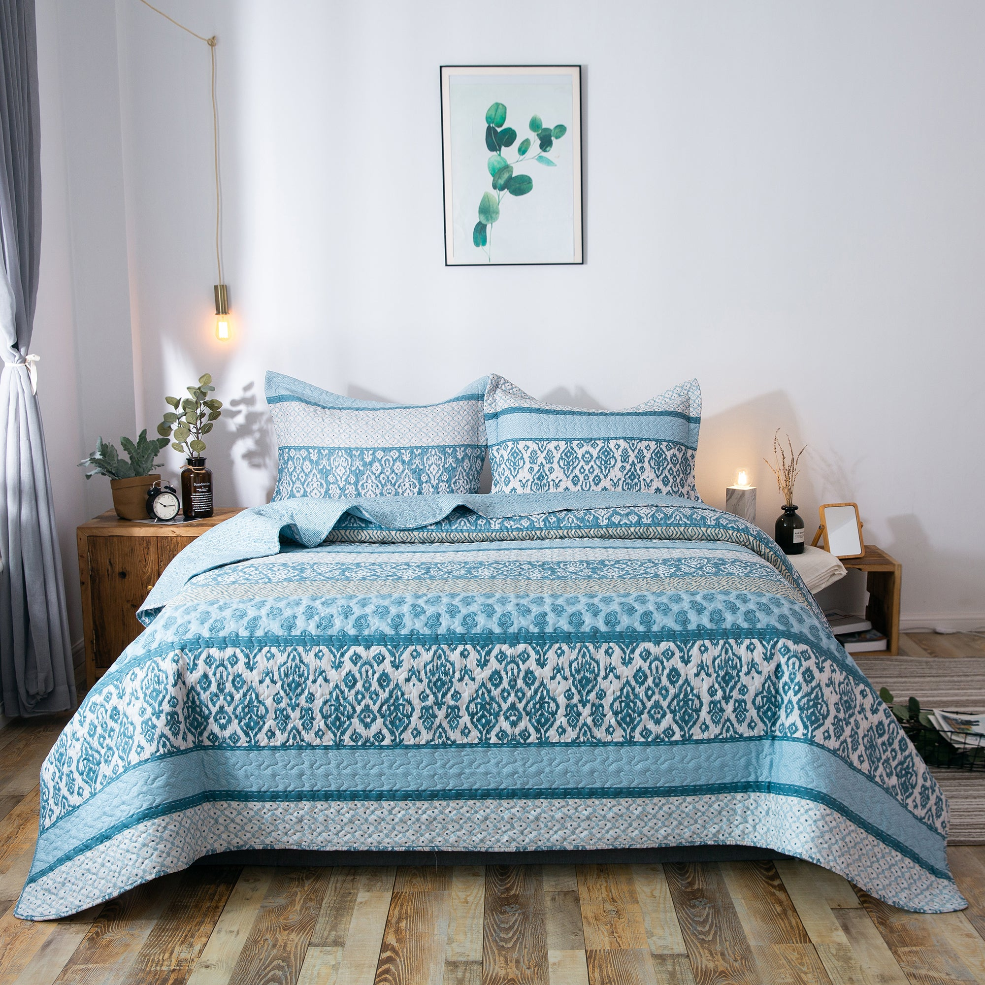 Kasentex Chic Printed Pre-Washed Quilt Set. Softest Microfiber Fabric Frost Blue - Kasentex