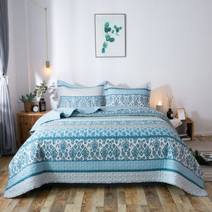 Kasentex Country-Chic Printed Pre-Washed Quilt Set. Microfiber Fabric Frost Blue