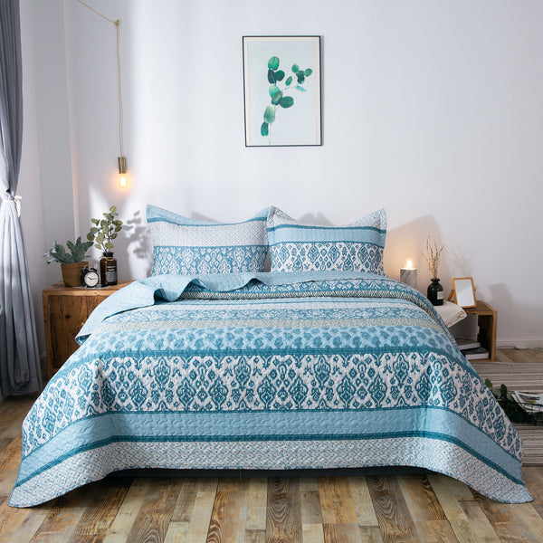 Kasentex Country-Chic Printed Pre-Washed Quilt Set. Microfiber Fabric Frost Blue - Kasentex