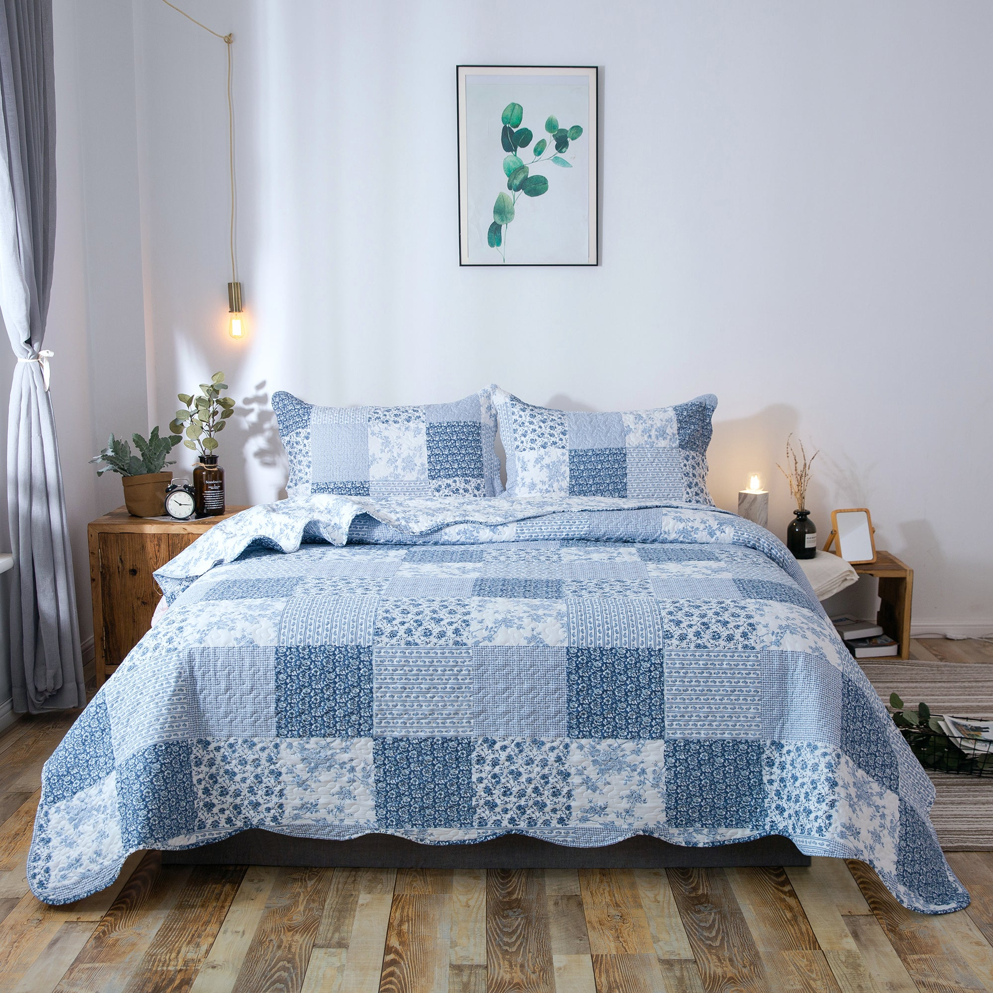 Kasentex Country-Chic Printed Pre-washed Quilt Set. Microfiber Fabric Traditional Multi-Blue