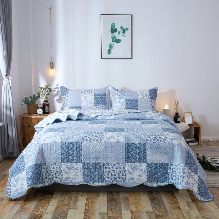 Kasentex Country-Chic Printed Pre-washed Quilt Set. Microfiber Fabric Traditional Multi-Blue - Kasentex