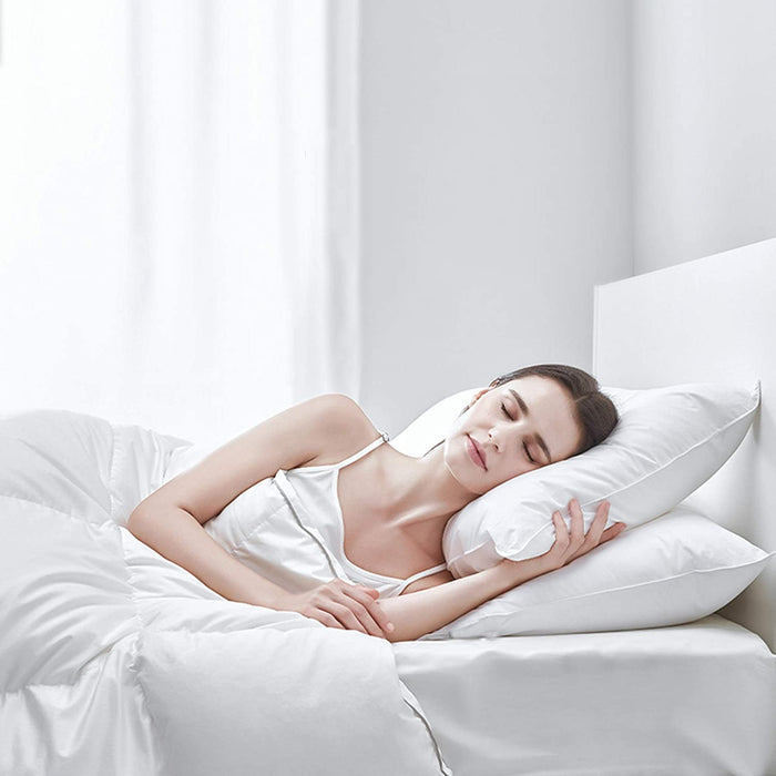Kasentex 100% Organic Cotton White Down and Feather Bed Pillows - Triple layer Design